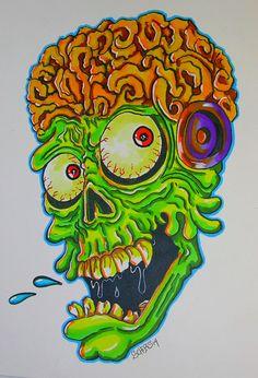 Mars Attacks Original Full color drawing Monster art by Scheres