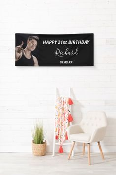 A banner celebrating a 21st (or any age)milestone birthday for a guy, man. An elegant modern black background. Personalize and add your own photo of the birthday boy/man. Happy 21st Birthday, Boy Birthday, Black White Photos, Black And White, Outdoor Banners, Milestone Birthdays, Custom Photo, Party Supplies, Party Themes