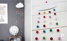 Móvil de nubes para decorar dormitorios infantiles y de bebés - Manualidades para niños - Charhadas.com
