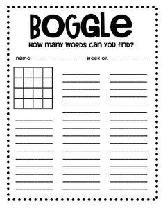 Boggle Worksheet