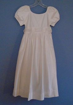 06c1ea3c53 Strasburg Girls Ivory Silk Princess Style Dress Empire Waist Bow Back Sz 7   fashion