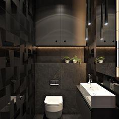 2 Masculine Interiors in Shades of Grey Black & Brown - Modern Bathroom Design Software, Bathroom Tile Designs, Modern Bathroom Design, Diy Bathroom Decor, Bathroom Interior Design, Black And White Tiles Bathroom, Brown Bathroom, Black Bathrooms, Black Toilet
