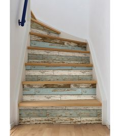 WallPops NuWallpaper Peel & Stick Wallpaper-Old Salem Adding a wood feature wall to your home has never been easier. This peel and stick wallpaper is easy to use and wont harm your walls. The distressed wood pattern gives the look of reclaimed materials Look Wallpaper, Peel And Stick Wallpaper, Stone Wallpaper, Wallpaper Stairs, Stair Makeover, Painted Stairs, Beach House Decor, Home Decor, Beach House Furniture