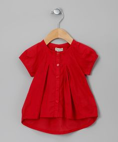 Red Cracotte Blouse - Eliane et Lena, love the pleating