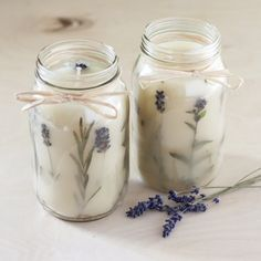 Make your own beautiful Pressed Herb Candles with this simple DIY