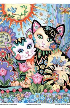 Best Friends – Art and coloring ©Marjorie SarnatCreative Haven ~ Creative Kittens ~ Marjorie Sarnat Design & Illustration Illustrator of best selling adult coloring books Creative Cats, Owls, and many more. Cat Embroidery, Illustration Art, Illustrations, Decoupage Vintage, Cat Colors, Cat Drawing, Crazy Cats, Cat Art, Cats And Kittens