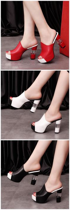 Ericdress Chic Patchwork Peep Toe Chunky Mules Shoes