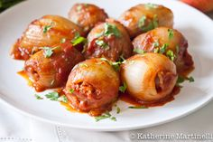 Sweet and Sour Stuffed Onions - flavorful and unusual Middle Eastern specialty