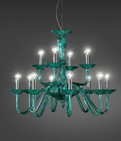 Italamp Kronleuchter aus Kristall 323/8+4/Verde - Hängeleuchten - Contemporary - ITALAMP Cult Edition - Beleuchtung - Online Geschäft - Sfera srls