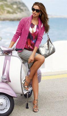 Fushia Pink Blazer | Multi Color Blouse | Grey Skirt | -- Irina Shayk