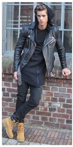 All black everything with classic Timberland boots. - Tags: fall/winter, casual, leather motorcycle jacket, long hoodie, jeans/denim, suede hiking boots