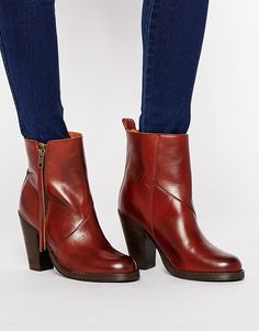 Selected Carol Cognac Leather Heeled Ankle Boots