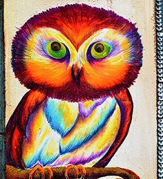 Home Decor Art Print Vibrant Rainbow Owl by blueeyeddragonfly
