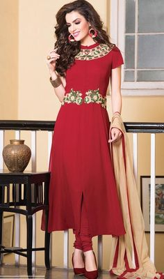 Spell style dressed in this red embroidered faux georgette churidar suit. The floral patch and resham work seems chic and great for any occasion. #LatestRedPartyWearDesignerSuit