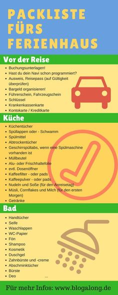 Vacation in a holiday home - your ultimate packing list (incl.-Urlaub im Ferienhaus – deine ultimative Packliste (inkl. kostenloser Checkliste) Vacation in a holiday home – your ultimate packing list (including free checklist) - Winter Vacation Packing, Summer Packing Lists, Ultimate Packing List, Packing List For Vacation, Packing Checklist, Road Trip With Kids, Camping With Kids, Family Camping, Family Travel