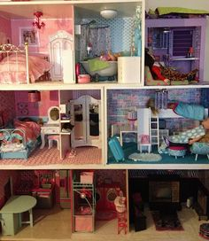Handmade dollhouse for my daughter's American Girl dolls. This is my introduction to crafts. I am not that crafty, but it was fun and still a work in progress.