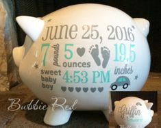 Personalized piggy bank boy piggy bank forest nursery personalized piggy bank boy baby boy piggy bank baby birth stats gift baby negle Images