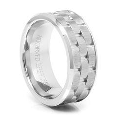 ARTCARVED WhiteTungsten Carbide Wedding Band - Mortar at Titanium-Jewelry.com