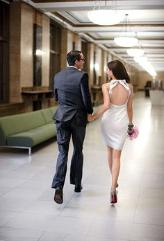 city hall. love this. the style/back of that dress is so great!