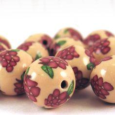 Handmade Grape Cane Polymer Clay Beads Round 10mm by KaelMijoy, $13.00