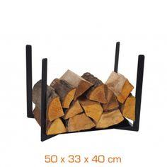 Range-bûches - Acier noir - 50 x 33 x 40 cm Range Buche, Fire Wood, Wood Storage, Fireplaces, Foyer, Texture, Crafts, Benches, Furniture