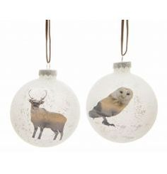 View Deer and Owl Glass Bauble, Set 3 Details