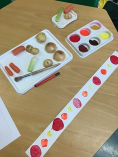 Eyfs Maths Repeating patterns with Harvest festival themed vegetable printing.