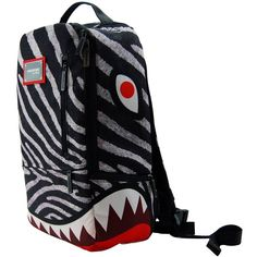 LCM Home Fashions Zebra Shark Deluxe Laptop Backpack (40 CAD) ❤ liked on Polyvore featuring bags and backpacks