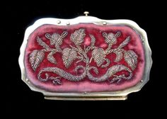 antique 19th C Century French Napoleon III era (1850s) embroidered/metallic embroidery Lady coin purse
