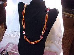 Vintage Orange Glass Beads Necklace by vintagecitypast on Etsy, $15.00