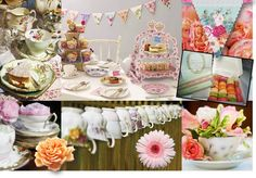 Eccentric English TEa party with the vintage-y bits Pastel Wedding Theme, Wedding Themes, Wedding Ideas, Tea Party Table, Alice Tea Party, Tea Cocktails, Tea Party Decorations, Centerpiece Ideas, English Country Decor