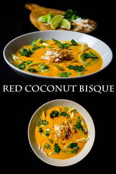 This vegan red coconut bisque is creamy coconut soup packed with flavour.