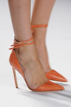~ coral high heel pumps with ankle straps
