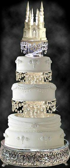 Wedding Cake ~ Lighted Cinderella Castle Swarovski Crystal Wedding Cake Topper with Slipper Floral Wedding Cakes, Wedding Cakes With Cupcakes, Cool Wedding Cakes, Beautiful Wedding Cakes, Wedding Cake Toppers, Beautiful Cakes, Elegant Wedding, Castle Wedding Cake, Castle Cakes
