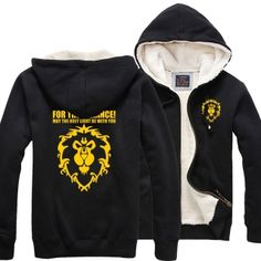 winter black World of Warcraft Sherpa lined hoodie For Alliance