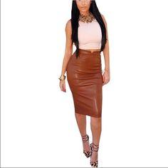 Coffee Leather Skirt High waist bodycon midi pencil skirt. NOT LISTED BRAND!! As worn on Amrezy Brandy Melville Skirts Midi