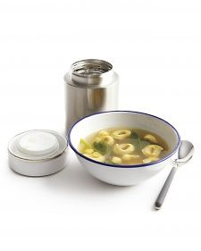 Lunch strategy from MS: TORTELLINI Cooked tortellini can be added to a Thermos of piping-hot chicken broth just before you leave home in the morning. Toss in baby spinach leaves or peas, too, for added color.
