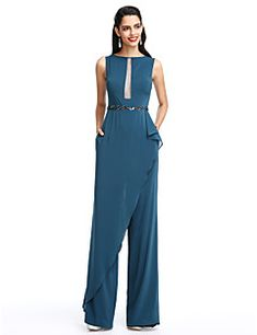 2017 ts couture® prom vestido de noche vaina / columna barco de la gasa formal de palabra de longitud con cuentas / marco / cinta