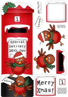 Large DL Xmas Robins Postbox 3D decoupage on Craftsuprint designed by Carol Clarke - A fabulous Christmas design with a Christmas Postbox with Step by Step 3D decoupage sized to fit a large DL card blank. This design is also available in other coordinating designs and together they would make a great set of cards to sell at craft fairs etc.This design is great for Christmas Cards, New Year Cards, Holiday Cards, Baby's First Christmas Cards etc - Now available for download!