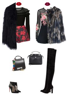 """Fur and red lips 👄"" by audrey-balt ❤ liked on Polyvore featuring Exclusive for Intermix, Alice + Olivia, Fendi, Christian Louboutin, Kenzo, Diane Von Furstenberg and Lime Crime"