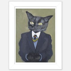 Framed Cat Print featured on Fab. This is way too distinguished for Nelson. Maybe Rugby clothes?