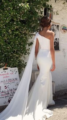 A-Line V-neck Ivory Satin Simple Wedding Dress Backless Bridal Gowns - New ideas Top Wedding Dresses, Wedding Dress Trends, Bridal Dresses, Wedding Gowns, Bridesmaid Dresses, Wedding Dresses Mermaid Style, Wedding Dress Guest, Famous Wedding Dresses, Satin Mermaid Wedding Dress