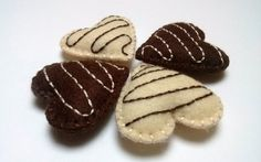 Felt food set  4 chocolate hearts by DusiCrafts on Etsy