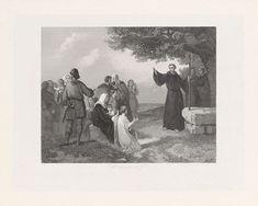 Hendrik D. Jzn Sluyter | Evangelieprediking in de 7e en 8e eeuw, Hendrik D. Jzn Sluyter, 1865 - 1870 | Evangelieprediking in de 7e en 8e eeuw. Een monnik verspreidt het Christendom tegenover een schare toehoorders onder een boom in de open lucht.