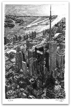 Toronto Skyline - drawings and paintings by Stephen Wiltshire MBE Stephen Wiltshire, Autistic Artist, Landscape Concept, Landscape Art, Toronto Skyline, City Drawing, Names Of Artists, Amazing Drawings, Urban Sketching