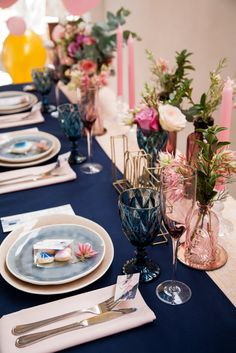 Romantic floral, Indigo and Rose Gold bridal shower table setting.