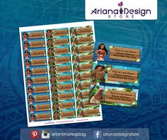 Moana Printable and Personalized Address Labels. Moana Printable Party Kit  / Etiquetas para Direcciones Imprimibles y Personalizadas inspiradas en Moana. Moana Imprimibles para fiestas.  #etiquetas #etiquetasparadirecciones #moana #arianadesignstore #moanadisney #addresslabel #moanaparty #label #mail #stickers #letter #fiestamoana #moanabirthday #oceaniscalling #pegatinas #printablemoana #kitimprimible #printable Moana Disney, Moana Moana, Moana Printables, School Labels, Mailing Labels, City State, Return Address Labels, Letter Size, Baby Names