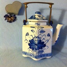 Asian Hexagonal Cobalt Blue and White Teapot $69 hand painted from the 1950's or earlier by PamsPawsJewelry