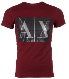 ARMANI EXCHANGE Mens T-Shirt BOX LOGO Premium BURGUNDY Designer Jeans NWT   menswear   d4a838f0826