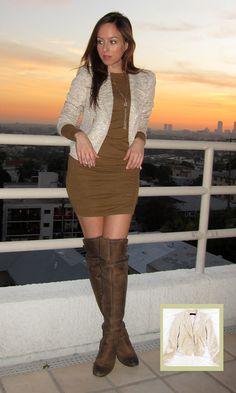 Victoria's Secret camel ruched dress Zara gold blazer Sam Edelman Over the knee boots